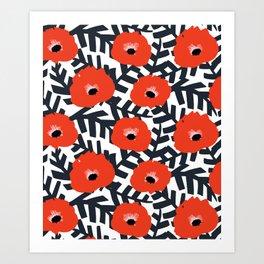 Summer Poppy Floral Print Art Print