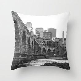 Minneapolis Skyline Black and White Throw Pillow
