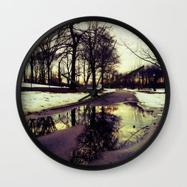 Beauty After the Snow Melts, Reflections of Trees Wall Clock