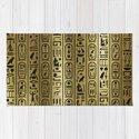 Black hieroglyphs pattern on Ancient Gold by k9printart