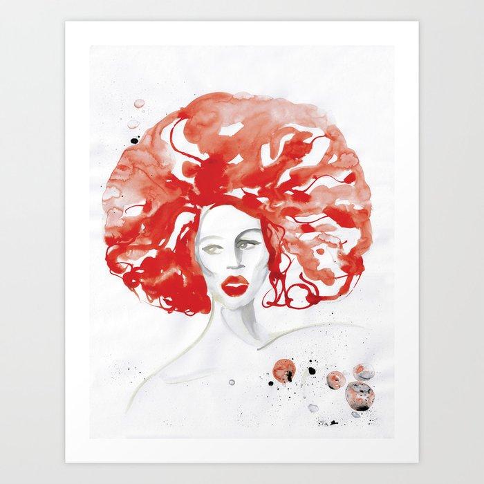 Mama Ru with a Huge Red Wig Art Print