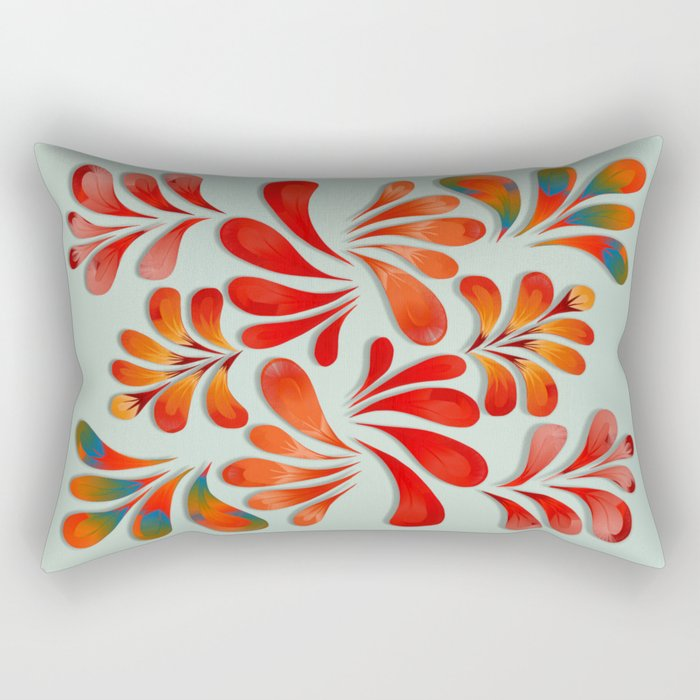 Floral Dance in Red Rectangular Pillow