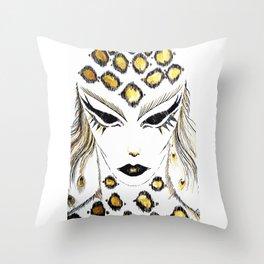 Panther girl Throw Pillow