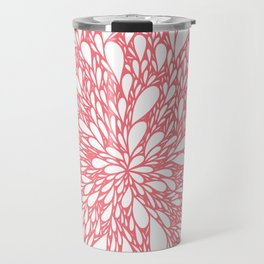 Coral floral burst Travel Mug