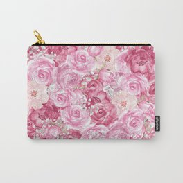 Hand painted white blush pink  coral floral Carry-All Pouch