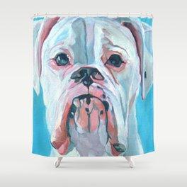 Otis the White Boxer Shower Curtain