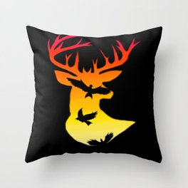 Deer Sun Throw Pillow