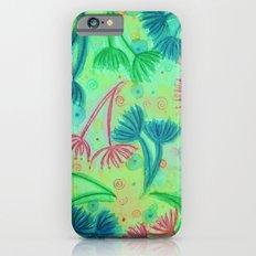 COW PARSLEY - Bright Cherry Acid Green Teal Blue Nature Floral Abstract Watercolor Painting Pattern Slim Case iPhone 6s