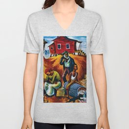 "African American Classical Masterpiece ""Study for the Results of Poor Housing"" by Hale Woodruff Unisex V-Neck"
