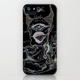 two horned single eyed illuminated god iPhone Case