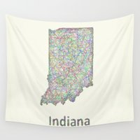 indiana Wall Tapestries featuring Indiana map by David Zydd