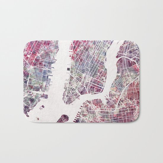 New York map Bath Mat