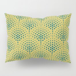 Tropical Dark Teal Polka Dot Scallop Pattern Inspired by Sherwin Williams 2020 Trending Color Oceanside SW6496 on Dark Yellow Pillow Sham