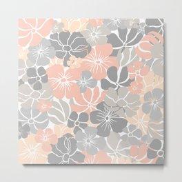 Fun, Floral Prints, Peach, Gray, Colour Prints Metal Print