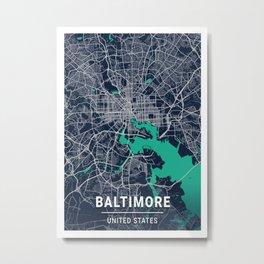 Baltimore Blue Dark Color City Map Metal Print