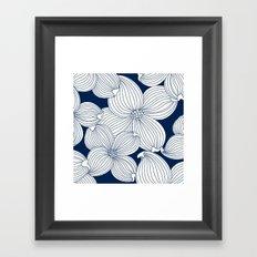 Dogwood Big Linear Floral: Navy Ivory Framed Art Print