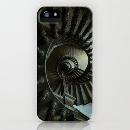 Brown wooden spiral staircase iPhone Case