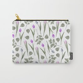 Elegant lilac blush pink blue watercolor tulips pattern Carry-All Pouch