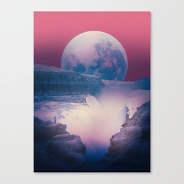red sky with moon, Iceland Canvas Print
