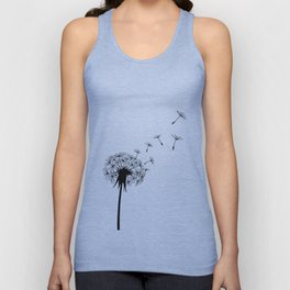Black and White Dandelion Blowing in the Wind Unisex Tank Top