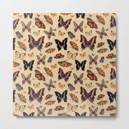 Retro butterflies surprise & 70s classic Greige & brown warm colors Metal Print