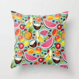 Fruit Pattern - Blue Throw Pillow