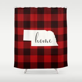 Nebraska is Home - Buffalo Check Plaid Shower Curtain