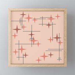 Mid Century Modern Stars Salmon Pink Framed Mini Art Print