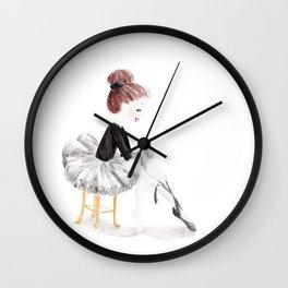 Ballerina in Black Wall Clock