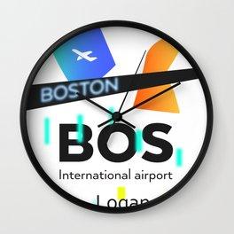 BOS Boston Logan airport code Wall Clock