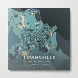 Townsville, Australia - Cream Blue Metal Print