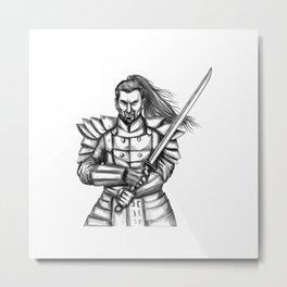Samurai Katana Sword Tattoo Metal Print