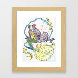 Mermaid and Sea Horse Framed Art Print