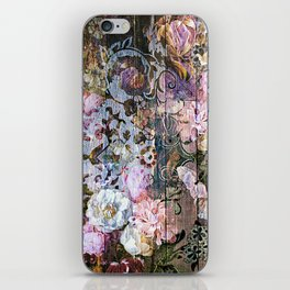 Shabby Chic floral rococo woodpanel iPhone Skin