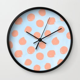 Sweet Life Dots Peach Coral Pink + Blue Raspberry Wall Clock