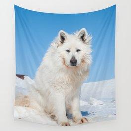White Husky 2 Wall Tapestry