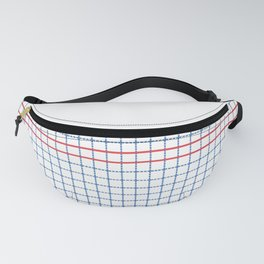 Dotted Grid Boarder Blue Red 2 Fanny Pack