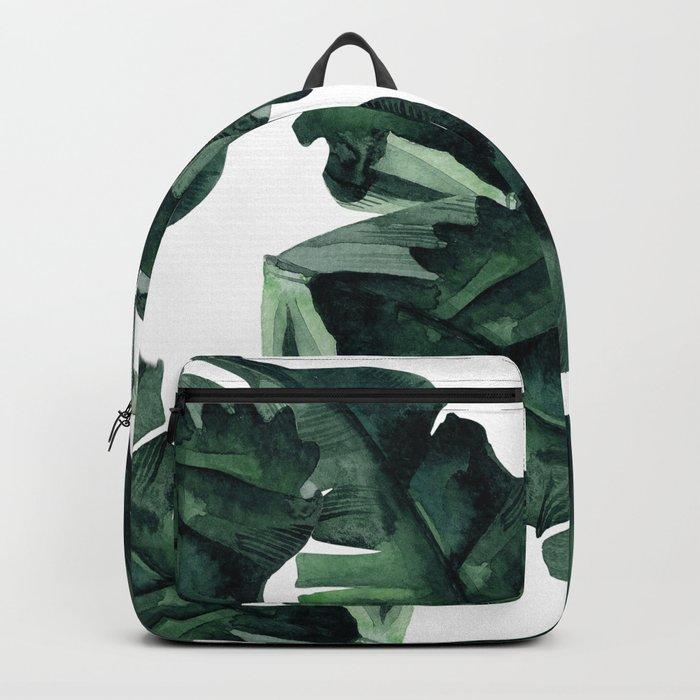 Banana Leaves Pattern Green Backpack