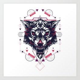 The White Wolf sacred geometry Art Print