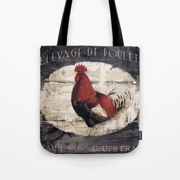 Vintage French Farm Sign Rooster Tote Bag