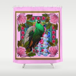 PINK ON  PINK ROSES & GREEN PEACOCK GARDEN FLORAL Shower Curtain