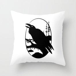 Raven Silhouette IV Throw Pillow