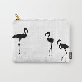 We Are The Three Flamingos Silhouette In Black Carry-All Pouch