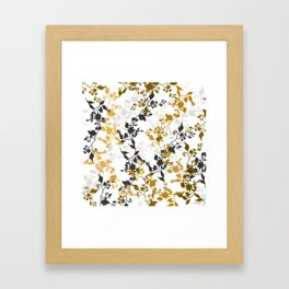 Branches and Leaves in Cobalt Grey and Brown Framed Art Print
