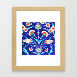 An Ottoman Iznik style floral design pottery polychrome, by Adam Asar, No 48L c Framed Art Print