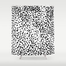 Retro Themed Dot Pattern Design Shower Curtain