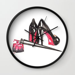 High Heels and nail polish art Wall Clock