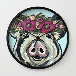 Cute Pig Art, Flower Crown Pig Art Wall Clock