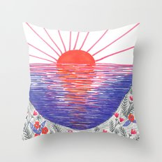 Cliff Top Sunset Throw Pillow