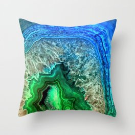 Turquoise Green Agate Mineral Gemstone Throw Pillow